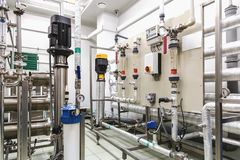 Pulpitu operatora wyposażenie na przemysle farmaceutycznym Obraz Royalty Free