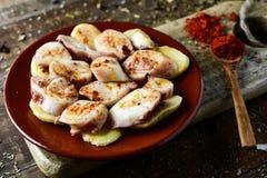 Pulpo ένα Λα gallega, μια ισπανική συνταγή του χταποδιού Στοκ Φωτογραφία