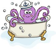 Pulpo con el sombrero del marinero en bañera Fotos de archivo libres de regalías