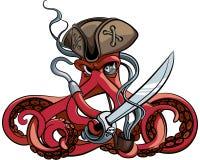 Pulpo el pirata ilustración del vector