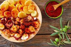 Pulpo a Feira with octopus potatoes gallega style Royalty Free Stock Image