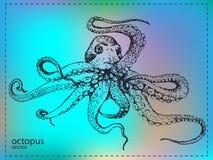 Pulpo marino grande dibujado mano Imagen de archivo