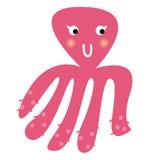 Pulpo rosado hermoso lindo aislado en blanco stock de ilustración