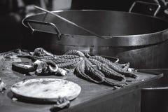 Pulpo un feira, Vikingos Catoira 2017 immagine stock