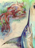 Pulpo y peces espadas Imagenes de archivo