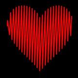 Pulsação do coração ajustada do vermelho da ilustração do coração Imagens de Stock