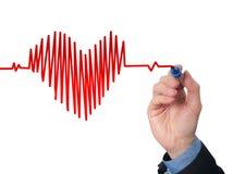 Pulsação do coração da carta do desenho da mão do homem de negócios fotos de stock