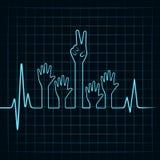 A pulsação do coração faz a mão da ajuda e da vitória Imagem de Stock Royalty Free