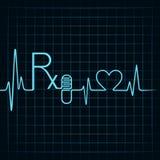 A pulsação do coração faz o texto de Rx, a cápsula e o símbolo do coração Fotos de Stock Royalty Free