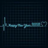 a pulsação do coração faz o texto do ano novo feliz e o símbolo do coração Fotos de Stock