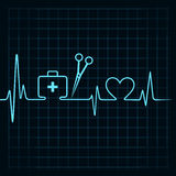 A pulsação do coração faz uma caixa dos primeiros socorros, scissor, e vetor do estoque do símbolo do coração Imagem de Stock