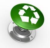 Pulsador con el reciclaje de símbolo stock de ilustración