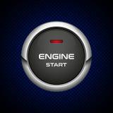 Pulsante di avvio realistico del motore su fondo scuro Fotografia Stock