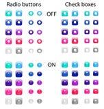 Pulsanti di scelta e caselle di controllo illustrazione di stock