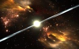 Pulsar magnetizado altamente, estrella de neutrón giratoria Fotos de archivo libres de regalías