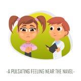 Pulsating feeling near the navel medical concept. Vector illustr Stock Image