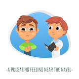 Pulsating feeling near the navel medical concept. Vector  Royalty Free Stock Images