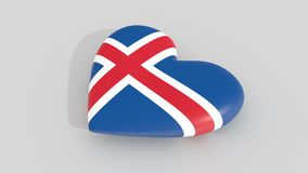 Pulsating heart in the colors of Iceland flag, on a white background, 3d rendering side, loop. Pulsating heart in the colors of Iceland flag, on a white stock video