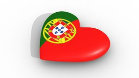 Pulsating heart in the colors of Portugal flag, on a white background, 3d rendering side, loop. Pulsating heart in the colors of Portugal flag, on a white stock footage