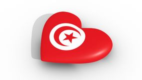 Pulsating heart in the colors of Tunisia flag, on a white background, 3d rendering side, loop. Pulsating heart in the colors of Tunisia flag, on a white stock footage
