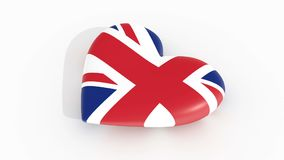 Pulsating heart in the colors of United Kingdom flag, on a white background, 3d rendering, loop.  stock video
