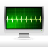 Pulse on computer screen monitor Royalty Free Stock Image