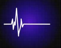 Pulse EKG (ECG). Single pulse blue EKG (ECG Stock Photography