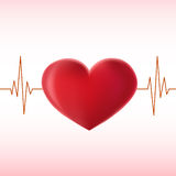 Pulse_heart. 3d heart pulse illustration on pink background Royalty Free Stock Images