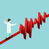 Pulse heart rate balance ECG EKG flat 3d isometric vector Royalty Free Stock Images