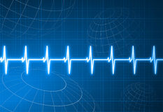 Pulse Heart Rate With Wire Frame Globes Background Royalty Free Stock Image