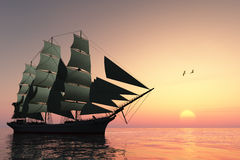 Pulse of Life. A tall clipper ship sails on calm waters at sunset Royalty Free Stock Photos