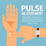 Pulse measurement illustration for medical poster. Pulse measurement vector illustration. One people hand touching another hand for pulse checking medical poster Stock Photos