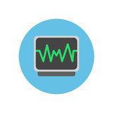 Pulse monitoring flat icon. Round colorful button, ECG, electrocardiogram circular vector sign, logo illustration. Royalty Free Stock Image