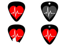 Pulse of music Concept Pick Guitar Stock Images