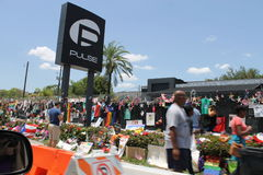 Pulse Nightclub Memorial to Shooting Victims. On June 12, 2016 29 people were killed at Pulse Nightlcub by Omar Mateen in a terrorist attack.  This image was Royalty Free Stock Images