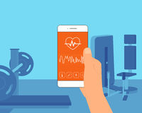 Pulse rate mobile app Royalty Free Stock Photo