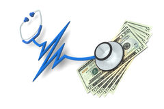 Pulse Stethoscope and Money Stock Photo