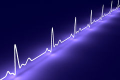 Pulse trace. 3D rendered Illustration. Heartbeat graph Royalty Free Stock Photo