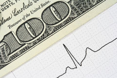 Pulse trace and bill. Close-up of a waveform from an EKG test and one hundred dollars bill Stock Images
