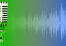 Pulse waves microphone. Sound speech volume media Stock Image