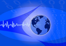 Pulse world on blue binary numbers Stock Photography