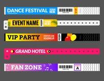 Pulsera de la entrada en el festival de la zona del evento del concierto Tenga acceso al diseño de la plantilla de la identificac stock de ilustración