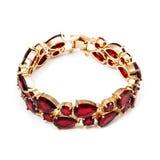 Pulsera de oro de la moda con el rubí Foto de archivo