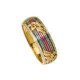 Pulsera del oro con las gemas multicoloras Imágenes de archivo libres de regalías