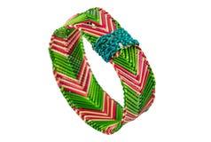 pulsera Rojo-verde de la rafia Fotografía de archivo libre de regalías