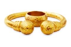 Pulsera y anillo del oro del otomano Fotografía de archivo