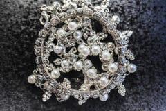 Pulsera y perlas del diamante Imagenes de archivo