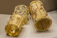 Pulseras del oro Foto de archivo libre de regalías