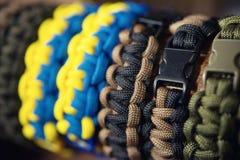 Pulseras trenzadas de cuerda Fotografía de archivo