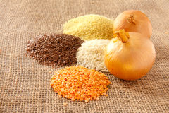 Pulses. Mixed pulses on hessian surface Royalty Free Stock Photography